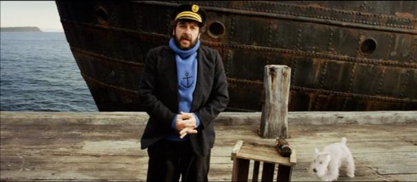Peter Jackson en Haddock pour les essais d'intégration de Milou © Weta